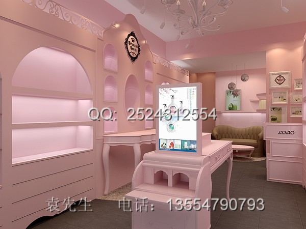 粉色欧式风格佩妮化妆品店面效果案例